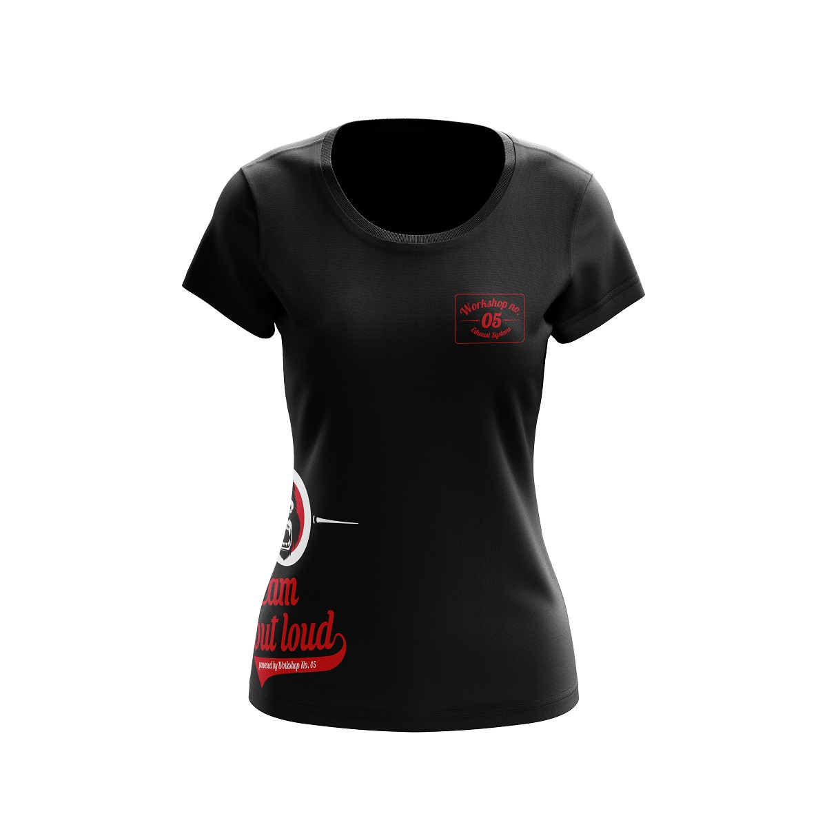 workshop no 5 t shirt f r frauen schwarz rot workshop onlineshop. Black Bedroom Furniture Sets. Home Design Ideas